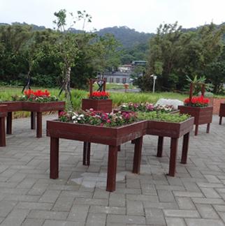 新設庭園內木作花臺及植栽佈置2